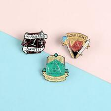Cartoon Badge Book Dragon and Dungeon Brooches for Women Taste Dice Enamel Pin J