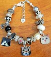 Cat-titude European charm black silver white Murano beads bracelet cats crystals