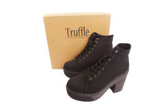Truffle Womens Lace Up Ankle Boots Retro Ladies Chunky Platforms Goth Combat