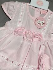 Mintini Baby Girls Spanish Style Romany Pink Daisy Lace Trim Quilted Jacket Coat