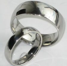 his hers 9MM 5MM PLAIN STEEL WEDDING RING BAND STR246