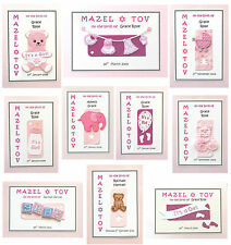 PERSONALISED Mazel Tov Jewish New Baby Girl Card - 10 Unique Handmade Designs