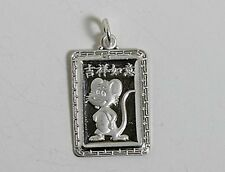 Chinese Zodiac Horoscope Sterling Silver Rectangle Rect Animal Pendant NEW
