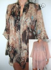 BEACHWEAR LADIES KAFTAN SHEER  CRINKLE CHIFFON COVER UP PLEAT TUCK SHIRT CASUAL