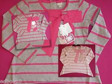 Girls FUNKY DIVA long sleeve bow top pink & grey or pink & white 2-3 3-4 5-6 yrs