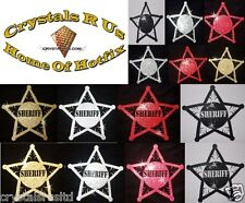 FABRIC SHERIFF COWBOY STAR BADGE IRON-ON HOTFIX KIDS CRAFT TSHIRT TRANSFER PATCH