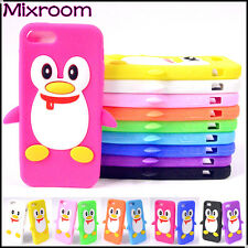 COVER CASE CUSTODIA PER APPLE IPHONE 5 IPHONE5 5G PINGUINO IN SILICONE MORBIDO