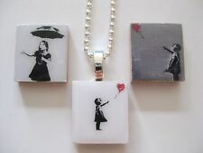 Banksy Street Art Style Pendant Necklace (girl with red balloon/umbrella)
