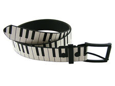 PIANO KEYS KEYBOARD LEATHER MENS WOMENS SNAP ON BELT EMO GOTH PUNK FUNKY RETRO