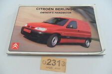 CITROEN BERLINGO SAXO SYNERGIE UK Atlas Owners Manual Handbook CI 231 - 235B