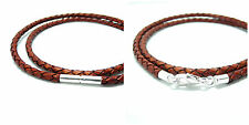 MENS/LADIES LEATHER NECKLACE-3mm ANTIQUE RED BRAID-STERLING SILVER CLASP CHOICE