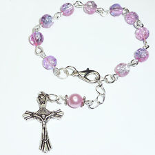 Girls Boys Personalised Catholic Pray Rosary Beads Style Bracelet Cross Gift Bag