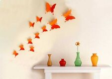 WANDTATTOO Wandstickers Wanddeko 3D SCHMETTERLINGE Butterfly Wandtatoo orange