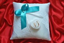 Wedding ring cushion /pillow with lace and rings box /pearl or crystal-86colors