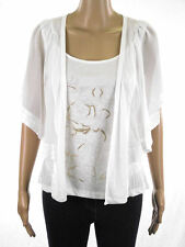 Marks & Spencer Per Una Ivory White Mock Layered Chiffon Sleeve M&S Tunic Top
