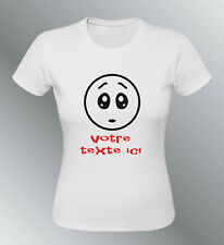 Tee shirt personnalise smiley S M L XL femme texte expressions emoticone triste