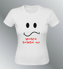 Tee shirt personnalise smiley S M L XL femme texte expressions emoticone timide