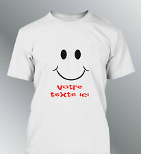 Tee shirt personnalise smiley M L XL XXL homme expressions humour content