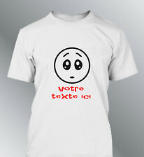 Tee shirt personnalise smiley M L XL XXL homme expressions  humour triste