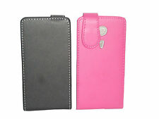 BLACK FLIP POUCH LEATHER CASE COVER SLEEVES FOR SONY XPERIA SP / M35H
