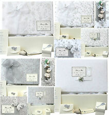 LARGE Wedding Keepsake Memory Box 15 x Silver/White PERSONALISED 4 Motifs+Extras
