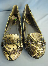 LADIES FLAT CASUAL SNAKE SKIN DESIGN WITH  METAL BAR DETAIL (SPOT ON F8782)