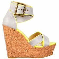 Dolcis Strappy Cork Wedge Platform Peep Toe Cross Over Strap Summer Sandals Size