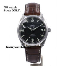 LEATHER DEPLOYMENT STRAP FOR OMEGA SEAMASTER SPEEDMASTER WATCH 18 20 BLACK BROWN