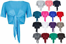 Womens Plain Front Tie Ladies Short Sleeves Bolero Top Cropped Cardigan Shrug