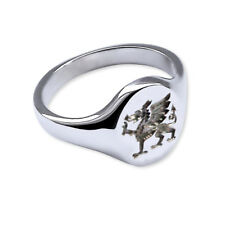 Solid 925 Sterling Silver Welsh Dragon Signet Ring 14X12mm 925 UK HM Mens Womens