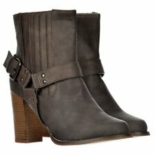 LADIES BLACK BROWN CHELSEA ANKLE BOOTS BLOCK HEEL STRAPPY STUDS BUCKLES SIZE