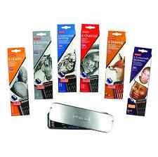 DERWENT 6 PENCIL TINS-DRAWING CHARCOAL GRAPHIC WATERSOLUBLE SKETCHING SKINTONES