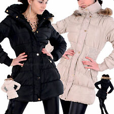Damen WINTER Outdoor MANTEL Fell KAPUZE Stepp JACKE Sexy DAUNEN Parka LOOK F-2
