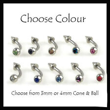 Curved Barbell 16G Surgical Steel Eyebrow Piercing Bar Crystal Gem Ball & Spike