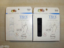 Fruit Of The Loom Thong Knickers Set Of 3 Pairs Black Or White UK Sizes 8 12 14