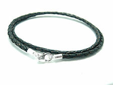 MENS/LADIES LEATHER NECKLACE-3mm ANT BROWN BRAIDED-STERLING SILVER CLASP CHOICE