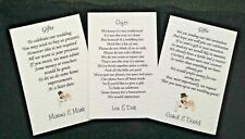 Wedding Poem Cards requesting money vouchers for your invitations Choice of 3