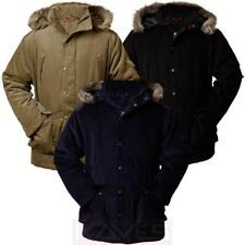 Mens Jacket Cord Parka Emporio RA131 Padded Fur Trim Hood Oversized Winter Coat