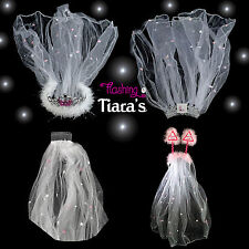 BRIDE TO BE VEIL Hen Night Party Tiara & Accessories inc.Flashing Bride to Be
