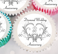 Diamond Wedding Cupcake Toppers  - Icing or Wafer - 4cm x 24- (ALREADY - CUT)