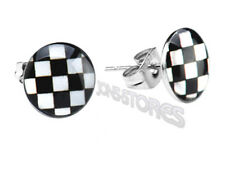 BLACK & WHITE CHECK STAINLESS STEEL 316L STUD EARRINGS 6, 8 or 10mm Single/Pair