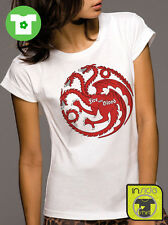 T-shirt girl TARGARYEN DRAGONS game of thrones trono di spade MAGLIETTA BIO