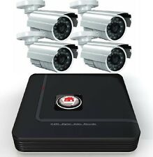 4 WHITE CAMERA CCTV SECURITY SYSTEM DVR KIT HOME DIY RECORDER KIT 500GB 1TB 2TB