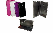 BLACK FLIP  LEATHER WALLET BOOK CASE WITH CARD HOLDER COVER FOR NOKIA LUMIA 1320