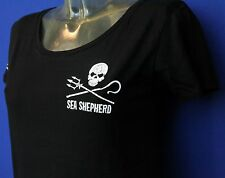Sea Shepherd Jolly Roger, Black ,  Regular Ladies fitted t-shirt,Whale wars