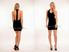 New Womens Ladies mini bodycon backless celeb party racer back dress Size S M L