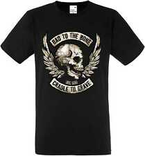 T-Shirt Nero Gotico Biker Vintage tatuaggio modello BAD TO THE BONE M-XXXL
