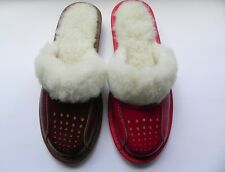 Ladies/Women`s100% Natural leather warmed slippers size3.5,4,5,6,6.5,7.Red,Brown