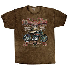 T-SHIRT BATIK MARRONE V Twin HD BIKER CHOPPER & oldschoolmotiv modello Flatty