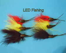 6 X SNAIL CARP FLIES FOR ZIG RIGGING TIED ON #8 or #10 BARBED HOOKS (107)